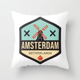 Amsterdam Windmill Badge XXX Throw Pillow