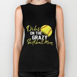 dibs on the grazy softball mom yellow sport healthy softball Biker Tank