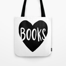 Heart Books - Hand lettered Book worm design  Tote Bag