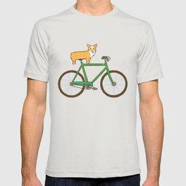 Corgi on a bike T-shirt