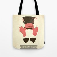 mad hatter Tote Bags featuring Mad Hatter by TurtleGirl