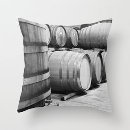 Wine barrels in Wine Estate Cellar Throw Pillow