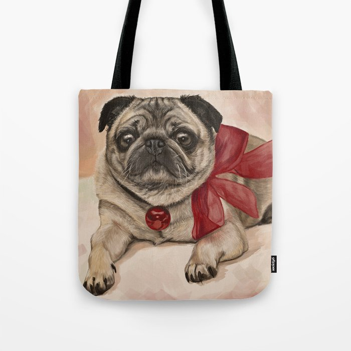 The pug with a red bow Tote Bag