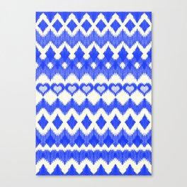 Ikat Pattern in Cobalt Blue & White Canvas Print
