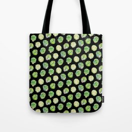 Brussel Sprouts Pattern Black Tote Bag