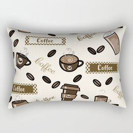 Coffee cups pattern on cream background Rectangular Pillow