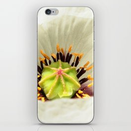 White poppy flower macro iPhone Skin