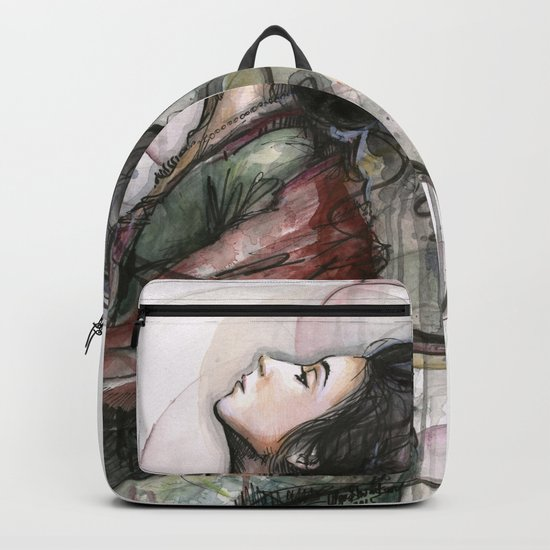 Beauty Illustration Beautiful Woman Feminine Portrait Backpack