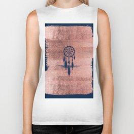 Modern navy blue faux rose gold dreamcatcher Biker Tank