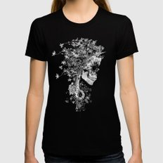 Skull BW Black Womens Fitted Tee X-LARGE