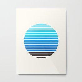 Cerulean Blue Mid Century Modern Abstract Minimalist Circle Sunset Stripes Ombre Watercolor Geometri Metal Print