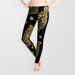 Abstract Triangles Gold Texture & Black Leggings