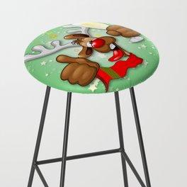 Reindeer Drunk Funny Christmas Character Bar Stool