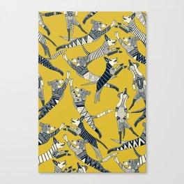 dog party indigo yellow Canvas Print