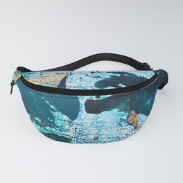 Dust and Matter: a pretty abstract painting in blue and gold by Alyssa Hamilton art Fanny Pack
