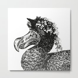 Mrs Dodo | Black & White Metal Print
