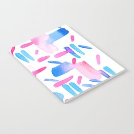 Blue Pink Diagonal Plaid Notebook