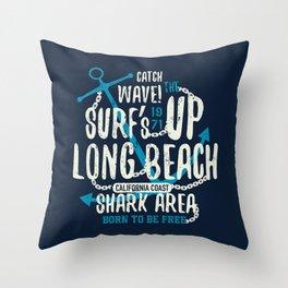 Dangerous shark illustration with lettering  Throw Pillow