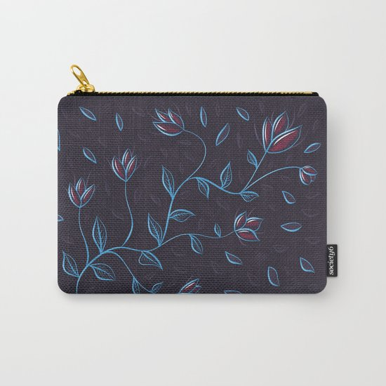Abstract Glowing Blue Flowers Carry-All Pouch