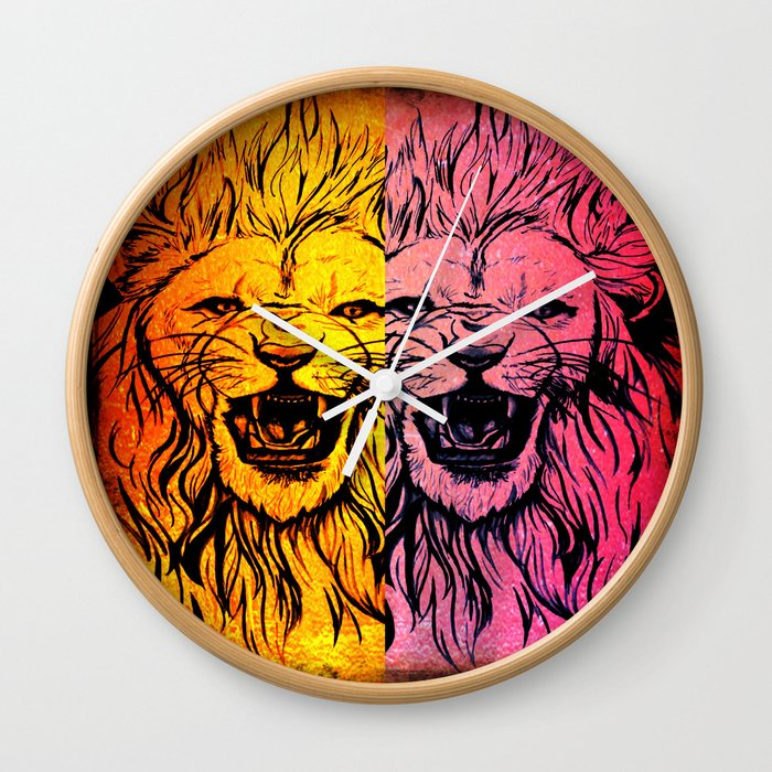 Lion's Dual Wall Clock
