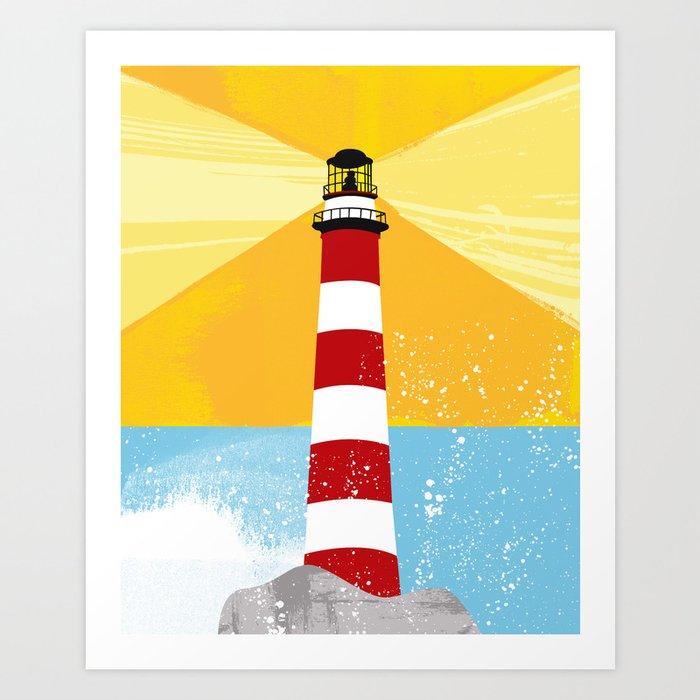 Ocean Splash Lighthouse Art Print by dollabails | Society6