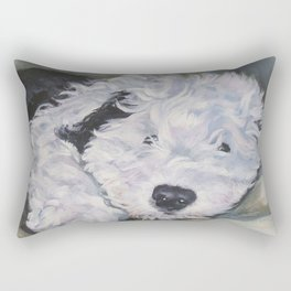 OES Old English Sheepdog dog art portrait from an original painting by L.A.Shepard Rectangular Pillow