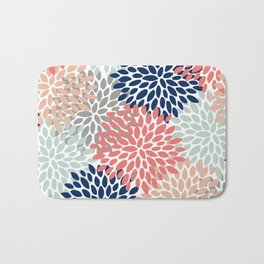 Floral Bloom Print, Living Coral, Pale Aqua Blue, Gray, Navy Bath Mat