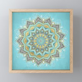 Cyan & Golden Yellow Sunny Skies Medallion Framed Mini Art Print