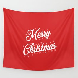 Merry Christmas with Snow Flakes on Red Background Wall Tapestry