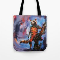 rocket raccoon Tote Bags featuring Rocket by Wisesnail