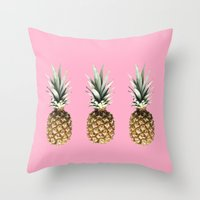 pineapples Throw Pillows featuring Pineapples by Yilan
