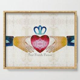 Friendship Love Art - Best Friends Forever - Sharon Cummings Serving Tray