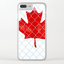 Rustic Canada Flag behind Chain Link Fence Clear iPhone Case