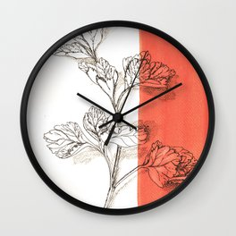 parsley branch nature watercolor orange Wall Clock