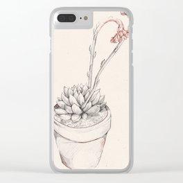 Echeveria succulent sketch Clear iPhone Case