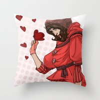 valentina Throw Pillows featuring Be my Valentina by LaurenceBaldetti