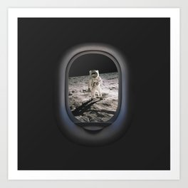 Buzz Aldrin Walk Moon Airplane Porthole Hublot View Art Art Print