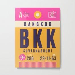 Retro Airline Luggage Tag - BKK Bangkok Thailand Metal Print