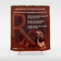 depression Shower Curtains featuring Depression or the Pain - 111 by Lazy Bones Studios