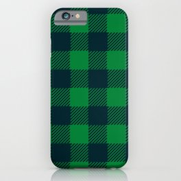 Green and blue plaid pattern iPhone Case