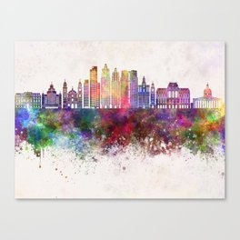 Buenos Aires V2 skyline in watercolor background Canvas Print