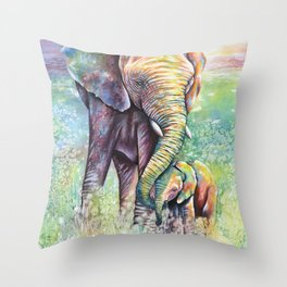 Colorful Mother Elephant and Baby Throw Pillow