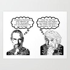 Jobs vs. Einstein Art Print