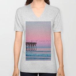 Beach Birds Sunset  Unisex V-Neck