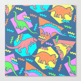Nineties Dinosaur Pattern Canvas Print