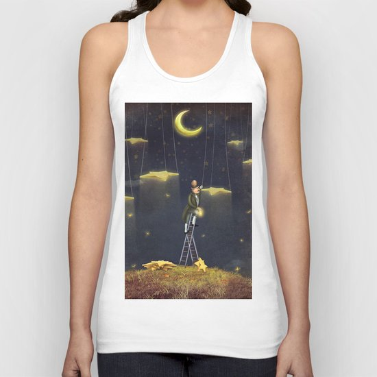 Man reaching for stars  at top of tall ladder Unisex Tank Top