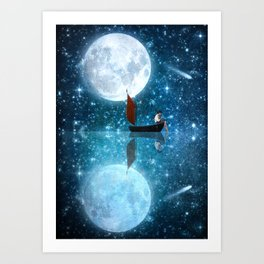 The Moon and Me v2 Art Print