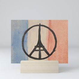 Paris Peace Symbol Eiffel Tower French Tricolor Mini Art Print