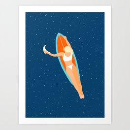 Moon Surfing #illustration #painting Art Print