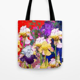 Yellow & Purple Spring Red Iris Garden Tote Bag
